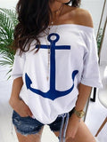Stunning Off Shoulder Printed T-shirt Top
