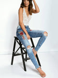Graceful Embroidered Ripped Jean Pants Bottoms