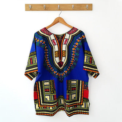 Chic Round Neck Short Sleeve Dashiki Print Mini Dress