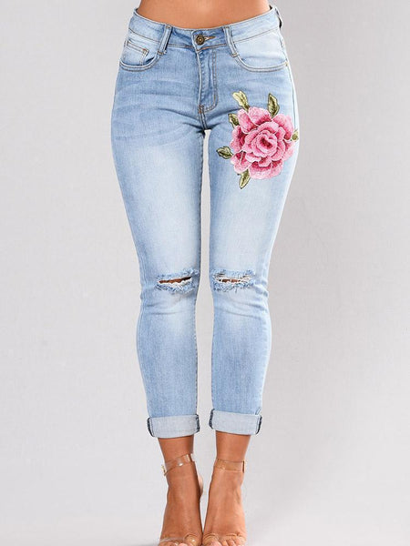 New Embroidered Ripped Pencil Jean Pants Bottoms