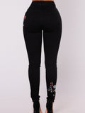 Marvelous Elastic Embroidered Pencil Jean Pants Bottoms