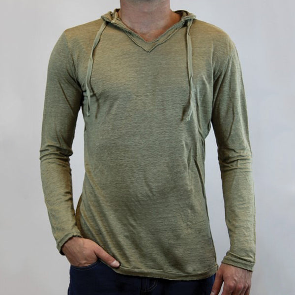 Hooded Solid Color Basic Casual Drawstring Long Sleeve Slim Fit T-Shirt