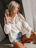 Unique See-through V-neck Lace Blouses&shirts Tops
