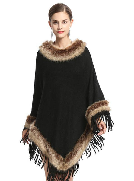FOX LIKE FUR COLLAR FRINGED PULLOVER KNITTED CAPE SHAWL