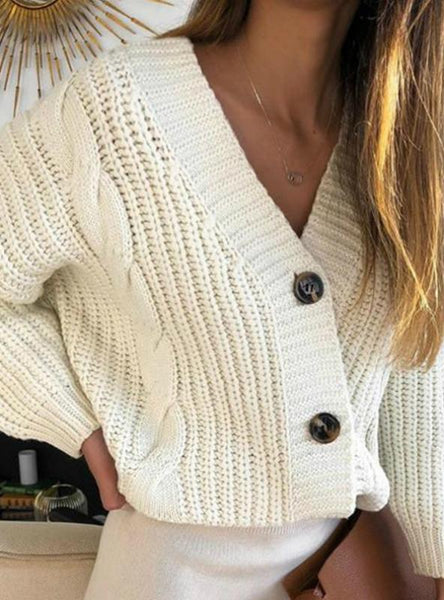 LONG SLEEVE BUTTON CARDIGAN KNITTED SWEATERS COAT