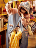 CORAL VELVET HOODED RABBIT EARS LOVELY HOME CLOTHES BATHROBE