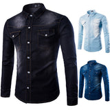 Long Sleeve Denim Dress Shirts for Men Plus Size Personality Double Chest Pockets Washed