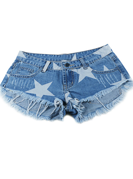 Stars Print Women Shorts Fashion Frayed Tassel Denim