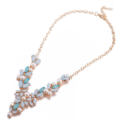 Cheap Glass Stone & Pearl Design Zinc Alloy Necklace