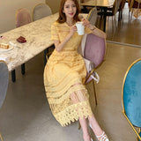 Yellow Lace Summer Style Short Sleeve Hollow Out Midi Vintage Dress