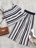 Tiered Flounce Striped Top and Pants Set