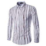 Long Sleeve Plus Size Shirt for Men Bussiness Casual Cotton Striped