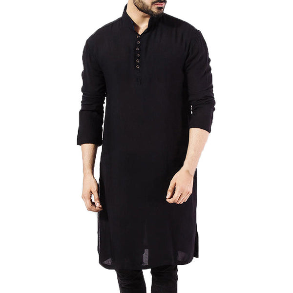 Mens Pathani Kurta Pajama Indian Long T-shirts Cotton Ethnic Suit