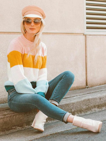 Vintage Knitting Striped Sweater Tops