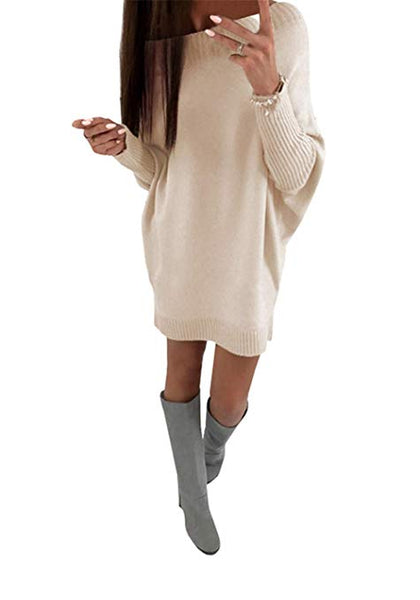 Womens Sweater Dresses Oversized Casual Batwing Sleeve Off The Shoulder Loose Knit Solid Tunic Tops