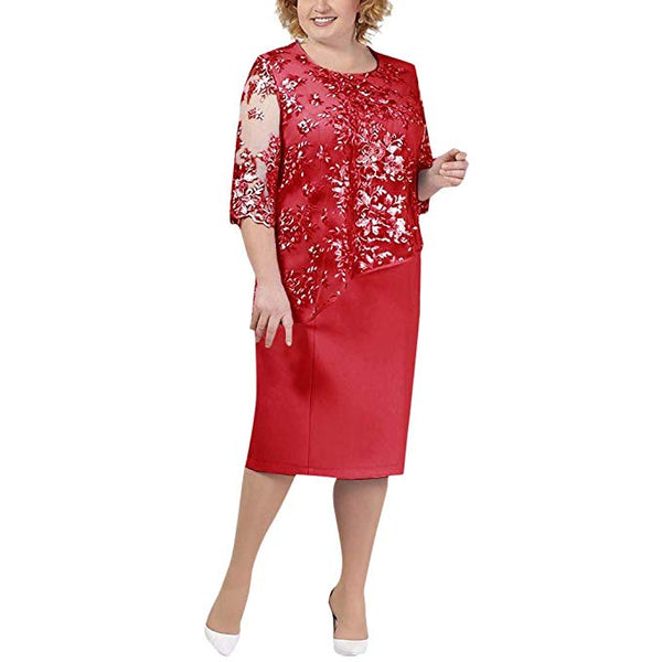 Ladies Plus Size Cocktail Dress Short Sleeve Lace Midi Dress Elegant Evening Party Mini Skirt