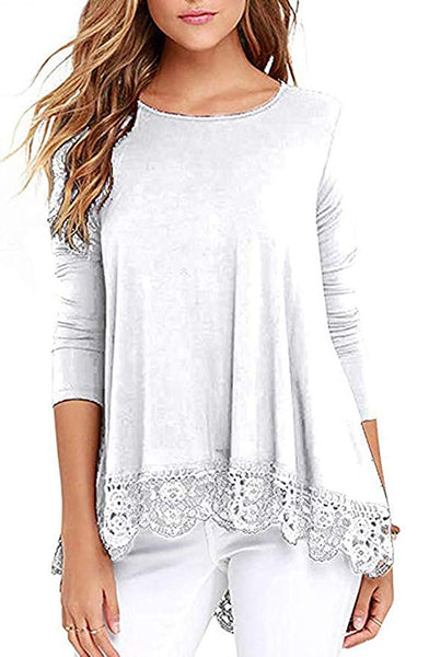 Women's Lace Trim Short/Long Sleeve Round Neck T Shirts Tunic Tops