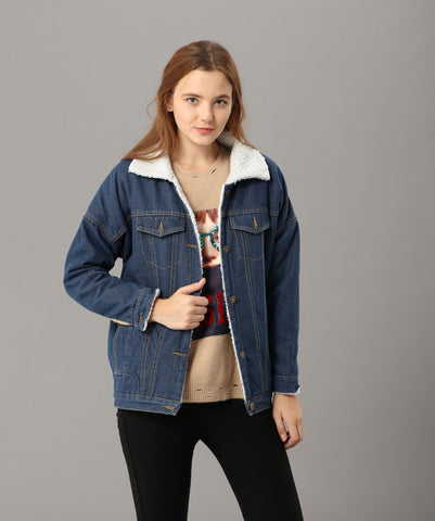 Winter Faux Fur Lined Denim Jacket