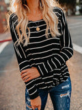 Long Sleeves Striped Sweater Tops