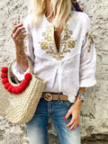 V-neck Blouses&shirts Tops