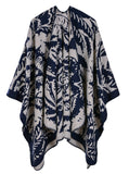 LADIES FLOWER PATTERN SHAWL SPLIT LONG CLOAK