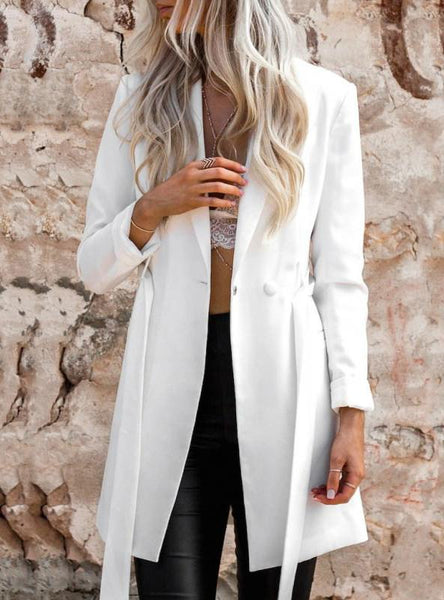 WHITE COLOR BELT BLAZER NOTCHED LADIES LONG SLEEVE
