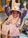 PINK PURPLE WARM AND SWEET EXTENDED BATHROBE HOODED