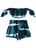 Tie-Dyed Off The Shoulder Crop Top and Shorts