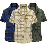 Short Sleeve Cargo Shirts For Men Summer Casual Loose Fit Checks Printing Cotton Turn down