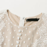 Embroidery Long Sleeves Sexy Mesh Lace Vintage Polka Dot Short Dress