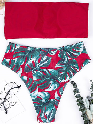 Swimwear Women Swimsuit High Waist Red Leaves Print Bandage Bikini