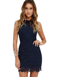 Halter Neck Sleeveless Sheath Bodycon Lace Dress