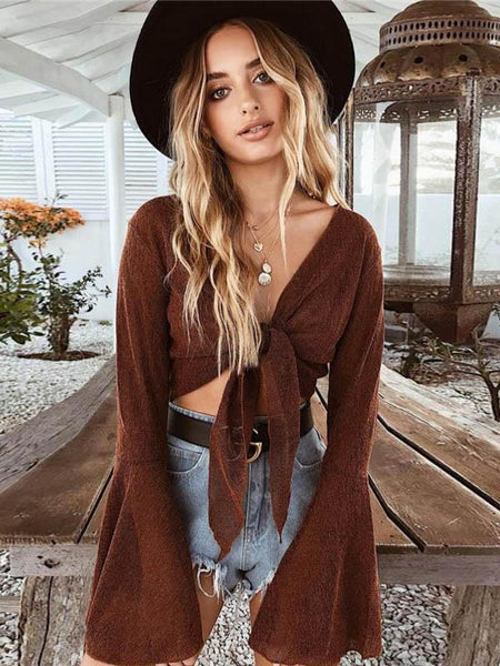 Romantic Flared Sleeves Bonage Blouses&shirts Tops