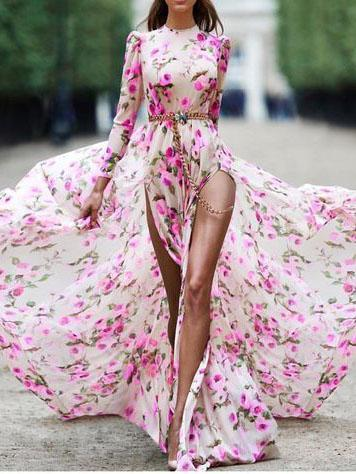 Pink Bohemia Long-sleeve Split-Side Floral Maxi Dress