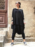 Fashion Black Batwing Sleeves High-low T-shirt Tops