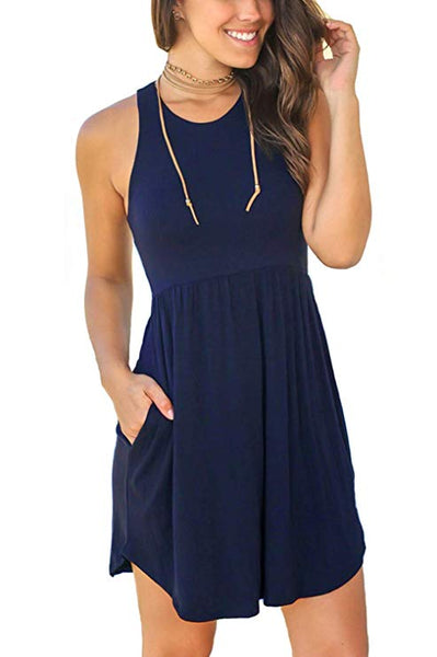Plain Dresses Casual  Short Dress