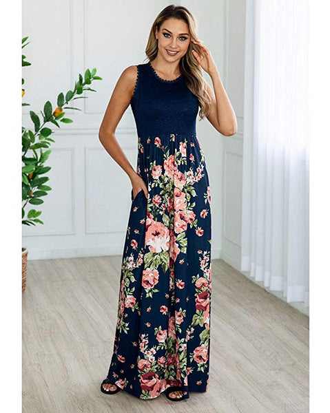 Women's Summer Sexy Strapless Floral Print Pleated Flounced Ruffled Dress