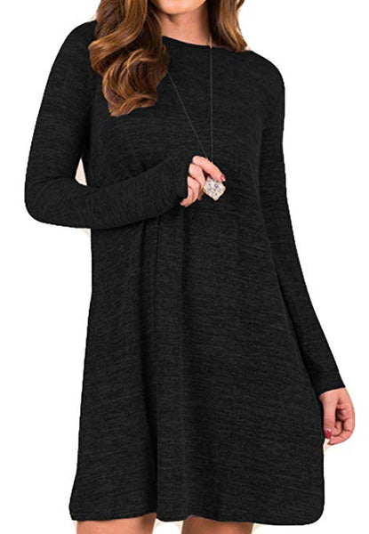 Women's Casual Loose Knitted Basic Lightweight Swing Tunic Dress Long Sleeve Sweater Dress