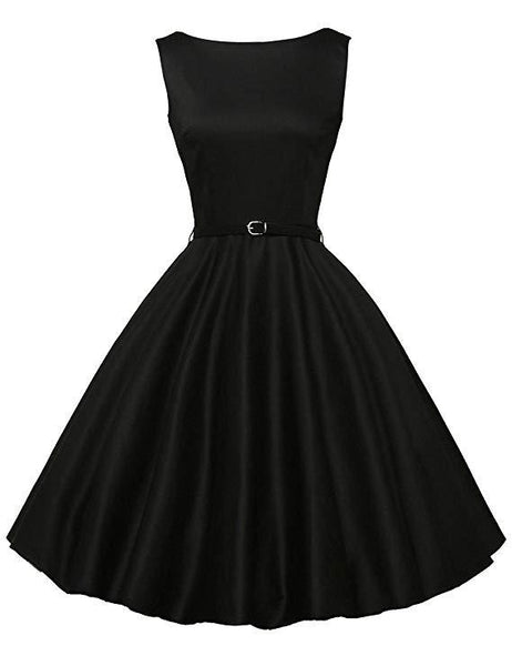 FASHION BLACK SHORT SLEEVELSS VINTAGE TEA DRESS