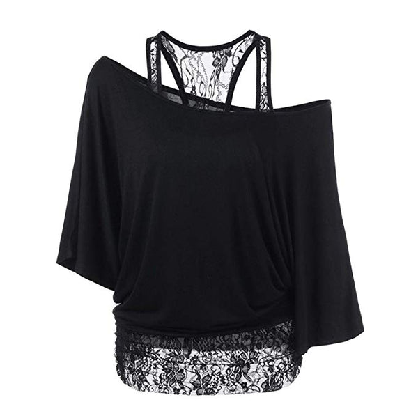 Women Sexy Fashion Lace Loose Long Sleeve Tank Tops Shirt Plus Size