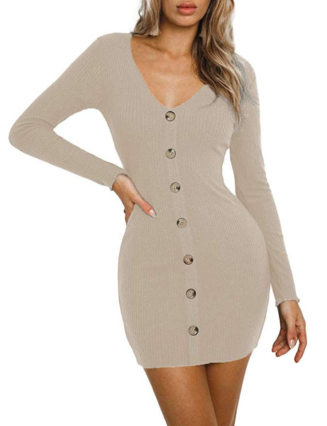 Women's Ribbed Knit Button Down Sweater Dress V-Neck Long Sleeve Bodycon Mini Pencil Dress