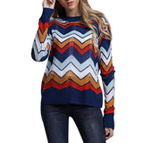 Women Neck Flare Sleeve Striped Tops