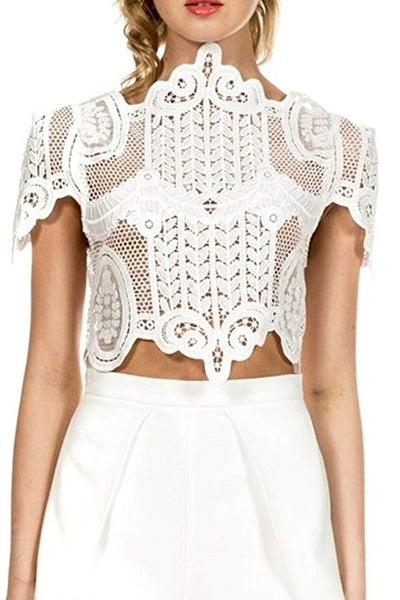 Women's Short Sleeve Sheer Mesh Floral Lace Crochet Crop Top Sexy Scallop Blouse