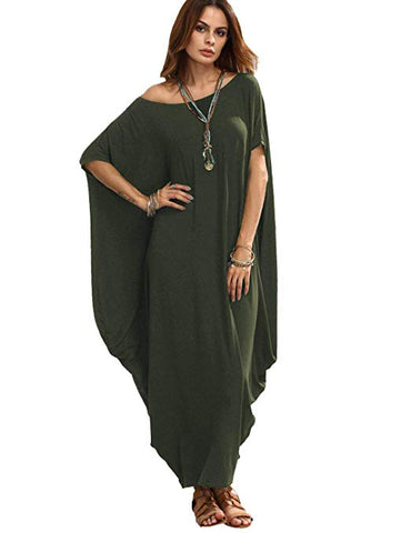 Women's One Off Shoulder Caftan Sleeve Harem Maxi Dress