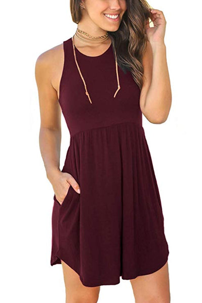 Sleeveless Loose Plain Dresses Casual Short Dress with Pockets