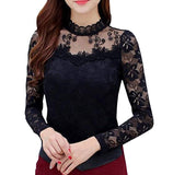 Women's Floral Lace Tops Overlay Turtleneck Sheer Long Sleeve Party Blouse