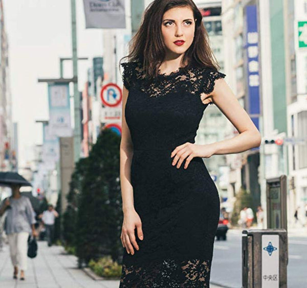 Women's Retro Floral Lace Slim Evening Cocktail Mini Dress