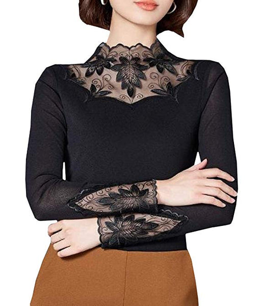 Women's Floral Lace Inner Tops Turtleneck Sheer Long Sleeve Sexy Blouse