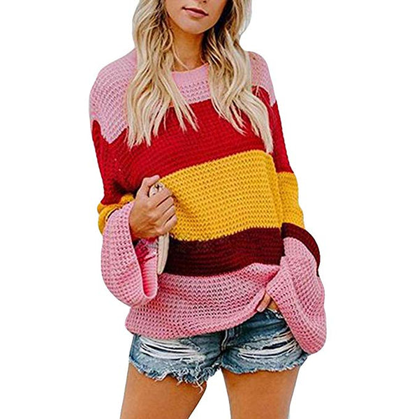 Women Knit Loose Pullover Sweater