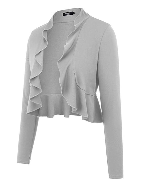 Women's Open Front Cropped Cardigan Long Sleeve Casual Shrugs Jacket Draped Ruffles Lightweight Sweaters
